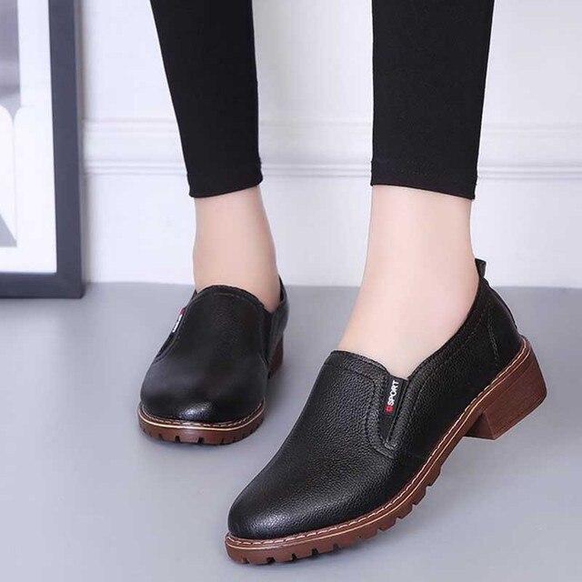 Kadınlar Üzerinde Kayma Elastik Bant Kalın Topuk Sonbahar Oxfords Bayanlar Yüksek Kaliteli PU Dikiş moda ayakkabılar Kadın Platformu Orta Topuklu