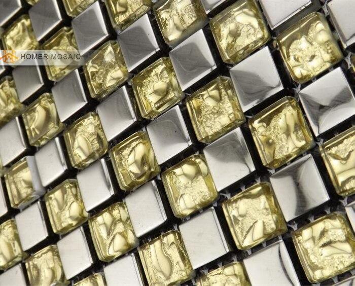 Gouden Mozaiek Tegels : Gratis verzending grijs gemengde gouden kleur glasmozaïek