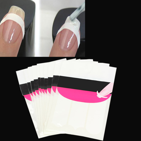 10pcs French Nail Art Tips 3 Style Form Fringe Guides Sticker Nail Sticker Nail Art Form Fringe Guides Sticker DIY  Manicure