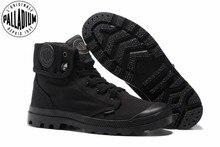 البلاديوم pallabrouse جميع الأسود رياضة الرجال عالية أعلى الأحذية القماشية عارضة أحذية الرجال عارضة أحذية الكاحل العسكرية يورو حجم 39 45