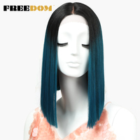 FREEDOM Straight Synthetic Hair Lace Front And T Part Wig 14 Inch Wigs Blue Ombre Wig Colors Choice Cosplay Wig Free Shipping