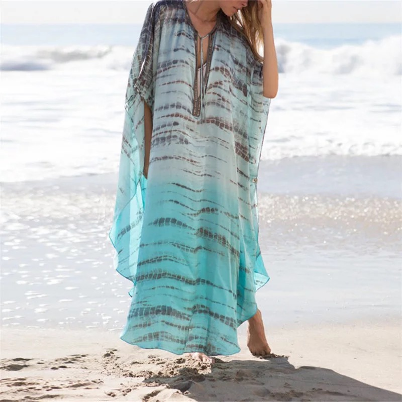 Chiffon Beach Cover Up Tunics For Beach Long Kaftan Bikini Cover Up Robe De Plage Sarong Beach Swimsuit Coverup
