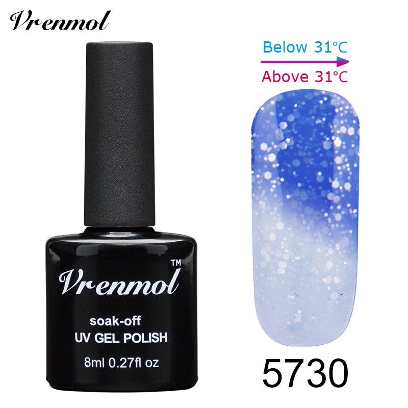 Vrenmol, 1 шт., меняющий цвет, замачиваемый УФ-гель, цвета, лак Verniz, Термальный, меняющий настроение, Гель-лак для ногтей - Цвет: 5730