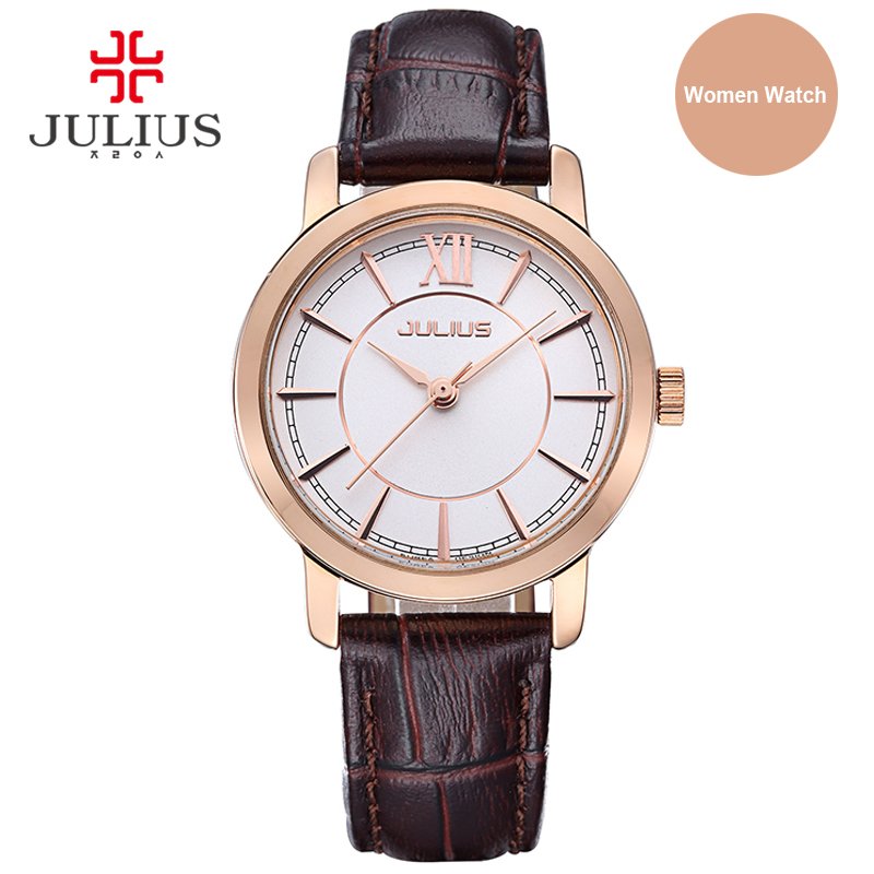 Julius Watch Woman Elegant Round Case Leather Strap Simple Silver Rose Gold Blue Geneva Business ladies