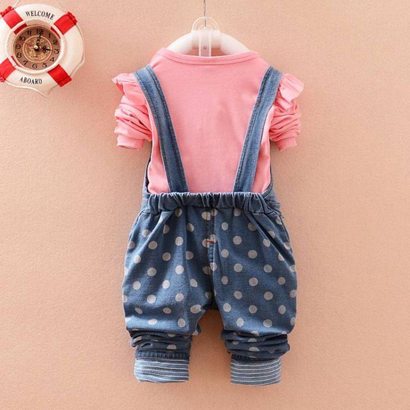 New Kids Clothing Sets Roupas De Bebe Baby Girls Letter T-Shirt Tops+Denim Jeans Cute Rabbit Overalls Pants 2 Pieces Suits MT301