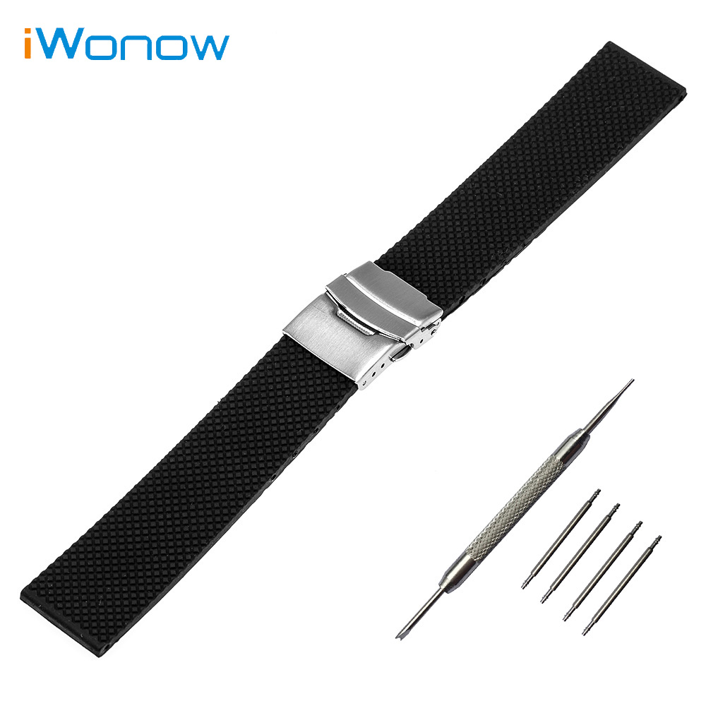 Silicone Rubber Mesh Pattern Watch Band 20mm for Ticwatch 2 42mm Safety Buckle Strap Wrist Belt Bracelet Black + Spring Bar+Tool