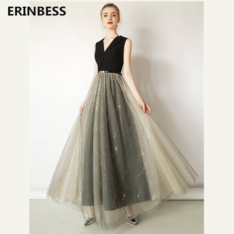 2019 New Fashion Champagne And Black   Prom     Dresses   Long   Dress   Sexy V-Neck Long Floor Length A-line   Prom     Dress   Formal Party Gown