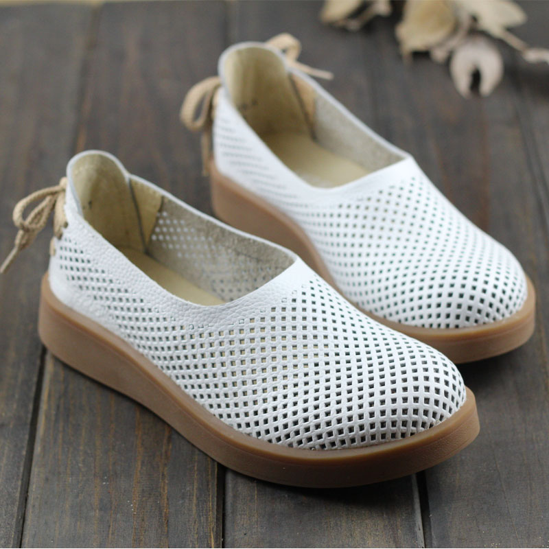 Womens Shoes Hollow out Breathable Summer Shoes Genuine Leather Round toe Slip on  Ladies Flat Shoes (1023-3)