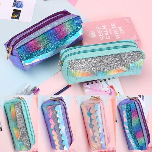 Glitter Sequins Pencil Case Laser Cosmetic Bag Zipper Women Handbag Fashion UK
