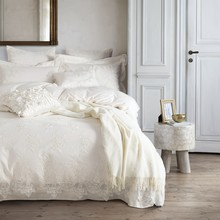 60S Egyptian Cotton 100% White Lace Duvet Cover Set 100% Egyptian Cotton 4/6/7pcs Princess Bedding Set For Girl Satin Bed Sheets(China)