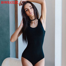 HOWMAYLEE Cotton Bodysuit Women Solid Black Sleeveless Jumpsuit Female Bodycon White Romper Casual Autumn Overall High Quality(China)