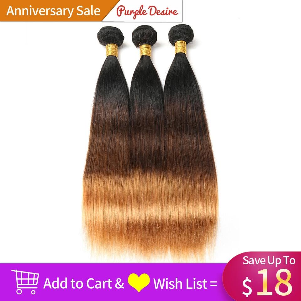 Ombre Hair Straight Hair Bundles T1B / 4/30 Brun Honung Blonde 100% - Mänskligt hår (svart) - Foto 2