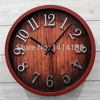European retro dimensional metallic silver pastoral figures of wood grain wall clock watch antique 12 inch mute