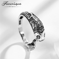 Fancnique 925 Sterling Silver Chinese Style Vintage Flower Carp Fish Ring Adjustable