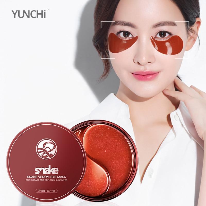Snake Venom Eye Mask SYN-AKE Peptide Essence Mask Lighten Wrinkles Remove Black Circles Eliminate Edema Moisturizing Skin 60 Pcs