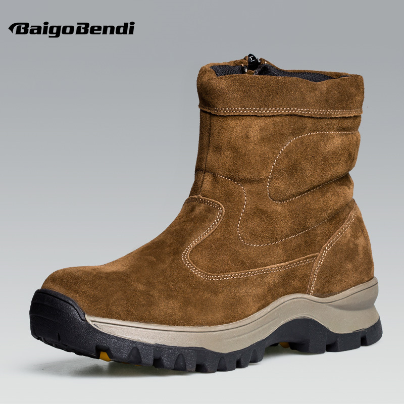 Recommend !! Mens Cow Suede Leather Zipper Mid Calf Super Warm Plush Snow Boots Man Winter Outdoor Casual Cotton Shoes plush casual suede shoes boots mens flat with winter comfortable warm men travel shoes patchwork male zapatos hombre sg083