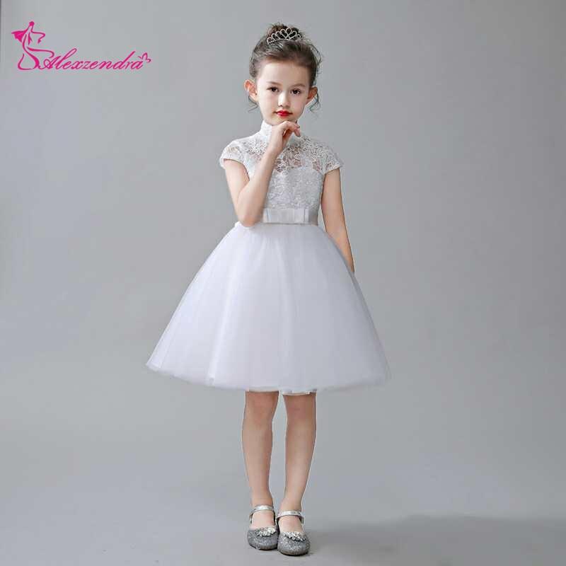Alexzendra Navy Blue Lace Flower Girls Dresses with Bow Girls First Communion Dress Princess Girl Dress Custom Made