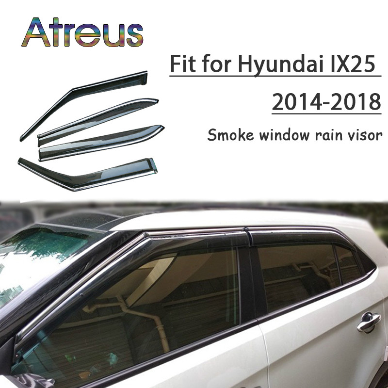 все цены на Atreus 1set ABS For 2018 2017 2016-2014 Hyundai IX25 Creta Accessories Car Vent Sun Deflectors Guard Smoke Window Rain Visor онлайн