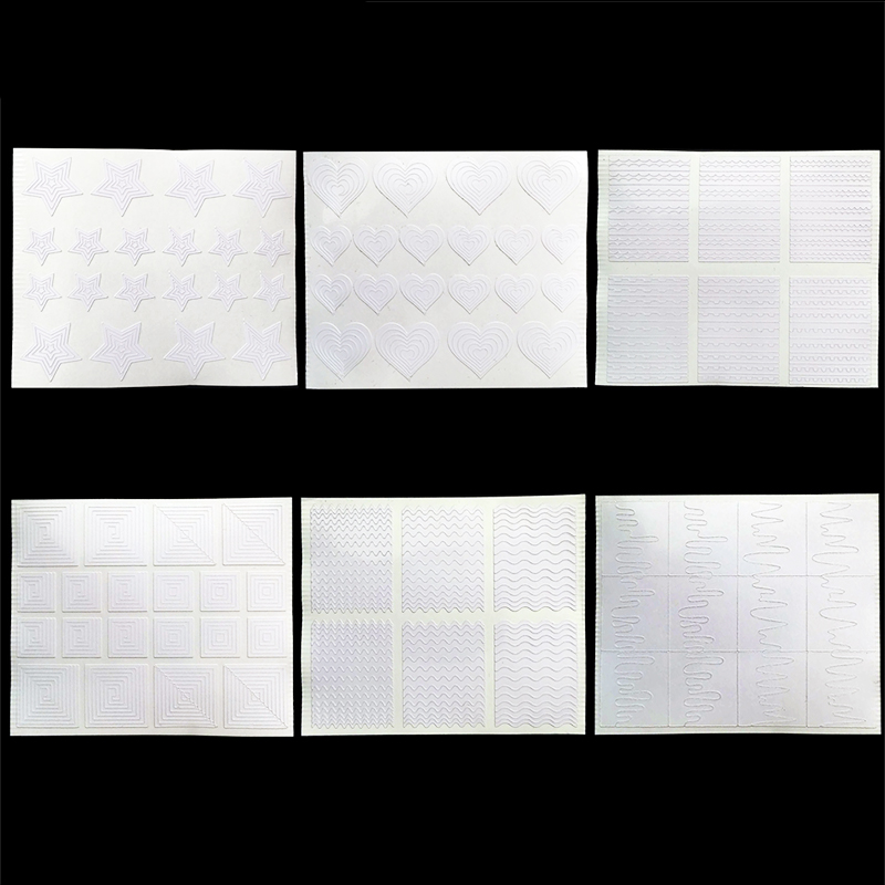 Partihandel 12 stycken Nails Sticker Stencil Tips Guide Franska Swirls Manicure Nail Art Decals DIY Sencil 3D Styling