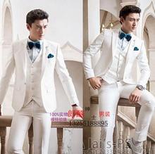 2017 new arrival white slim men suit set with pants mens suits wedding groom formal dress men's suit + pant + tie + vest 4XL