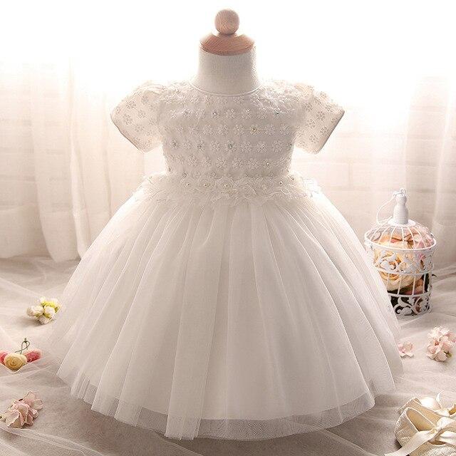 2016 Новый Малышей Baby Girl Детская Принцесса Крещение Dress Ребенок Цветок Девочки Платья 1 год Рождения Dress White Christening Gown