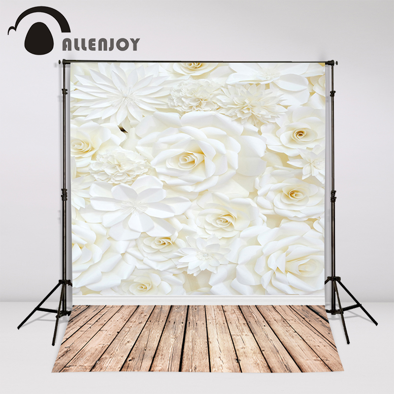 Allenjoy photography backdrops floor drop white flowers floral background for photo studio shooting girls bridal shower props shengyongbao 300cm 200cm vinyl custom photography backdrops brick wall theme photo studio props photography background brw 12