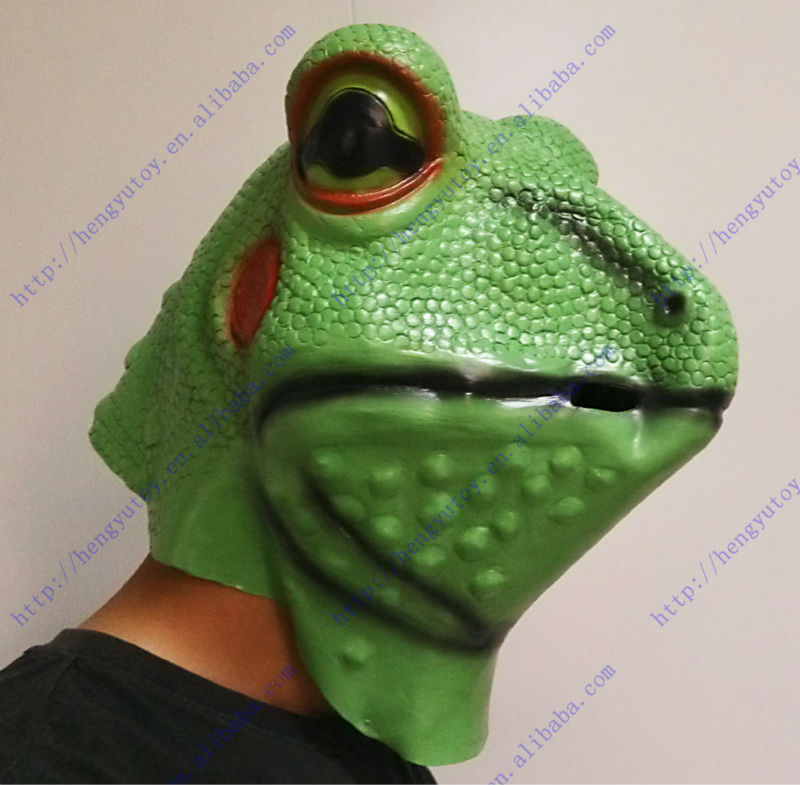 hot selling pretty vivid rubber latex full head frog mask