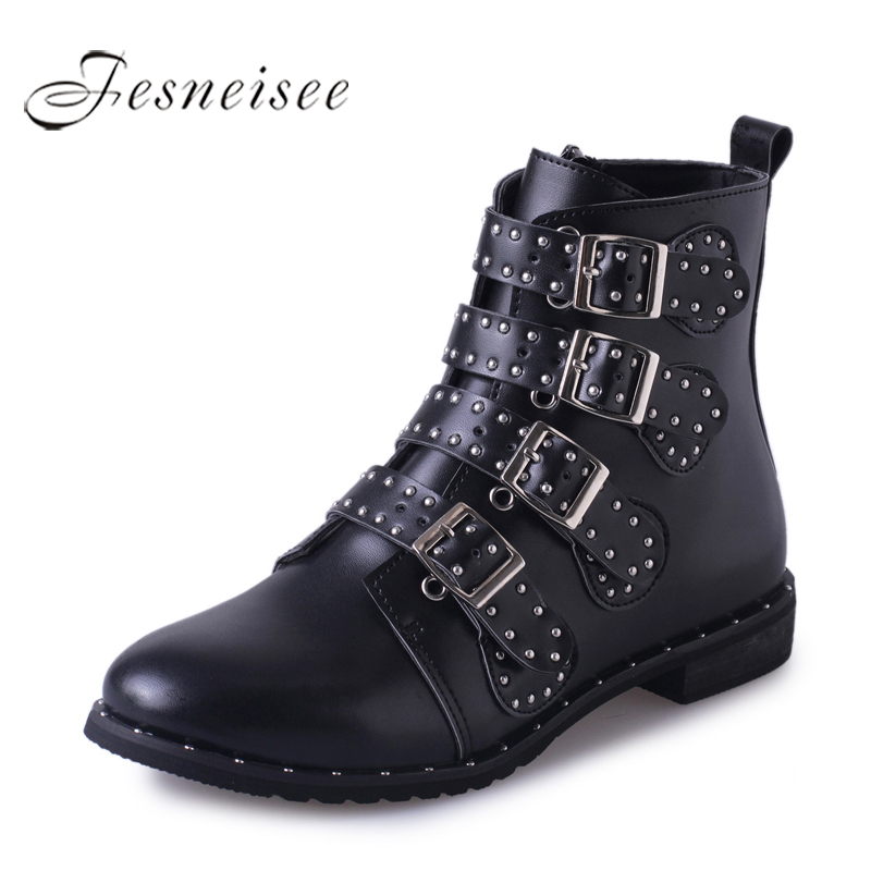 FESNEISEE Rivets Buckle Strap Motorcyle Boots Pu Leather Women Shoes Street Low Heels Female Boots Autumn Winter Boots Women