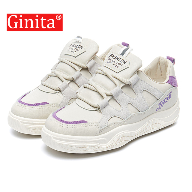 Ginita Brand 2019 Breathable PU Leather Women Casual Shoes Vulcanize Female  Fashion Sneakers Lace Up High Leisure Footwears 337bf048d6