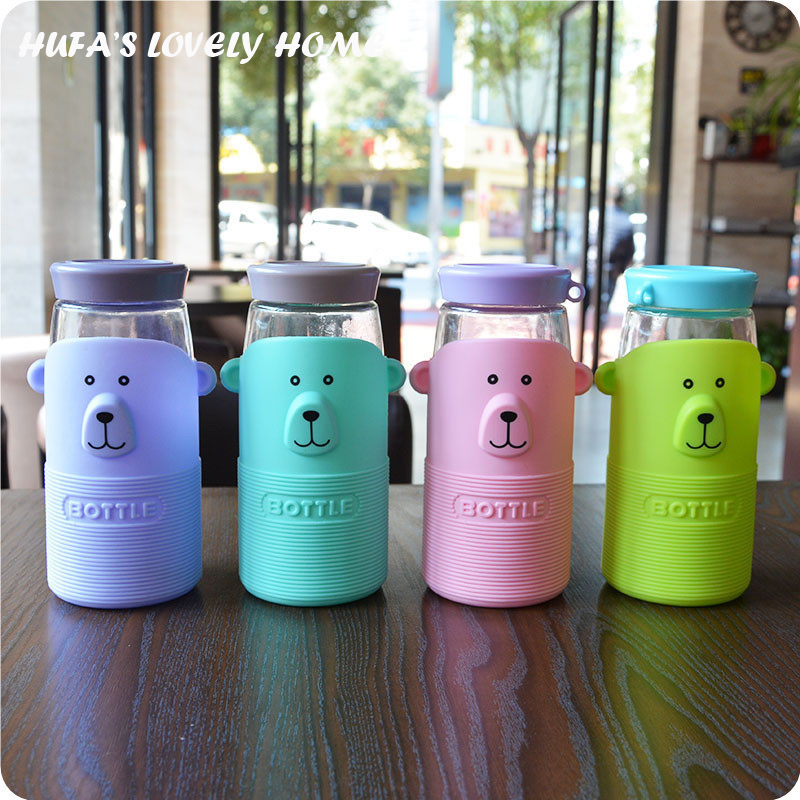 Lovely Hot Insulation Small Bear Glass Water Bottle Portable Leak-proof Tea Coffee Bottle Home Office Student Kettle caneca