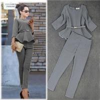Autumn Fashion Women Casual Suits Ruffles Top Houndstooth Checker Pattern Pants Suit Women 2014 Plus XL