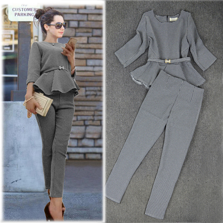RockGeorge Autumn Casual Ruffles Top Pants Suit Women Plus