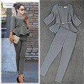 Autumn Fashion Women Casual Suits Ruffles Top Houndstooth Checker Pattern Pants Suit Women 2016  Plus XL RG411150 Free Shipping