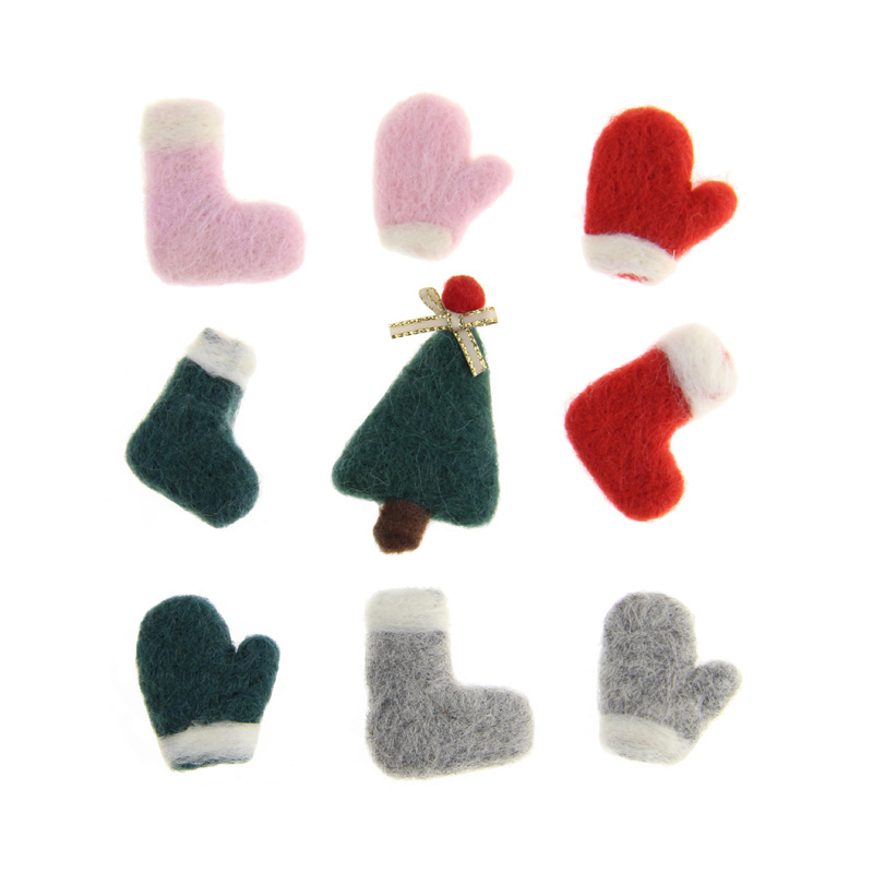 12pcs Handmade Wool Felt Christmas Santa Gloves Shoes DIY