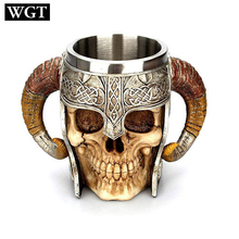 WGT Stainless Steel Skull Mug Resin Coffee Cup Travel Tea Wine Beer Mugs Drinking Cup Gifts for Men Christma Halloween particular handled skull design 400ml wine coffee tea cup
