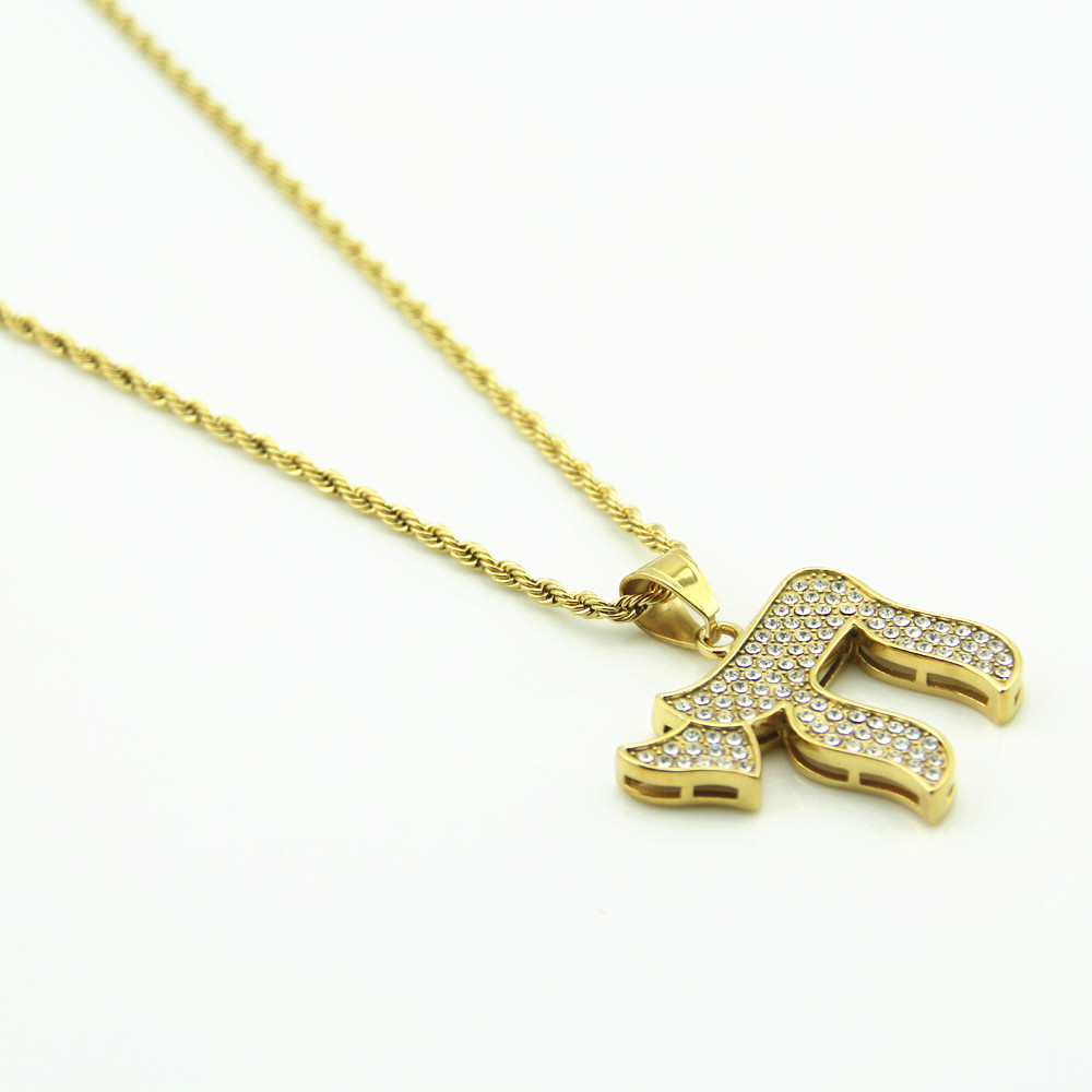 Aliexpress buy gold chai jewish symbol pendants necklaces aliexpress buy gold chai jewish symbol pendants necklaces iced out bling rhinestone jewelry gifts crystal hip hop chains chokers from reliable chain buycottarizona