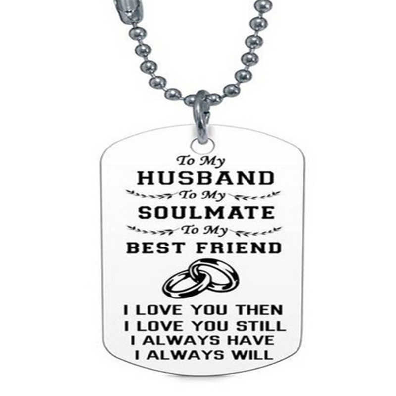 Titanium Steel Women Men Necklace Letters Carved TO MY BOYFRIEND TO MY GIRLFRIED Pendant Dog Tags Army Nameplate Necklace