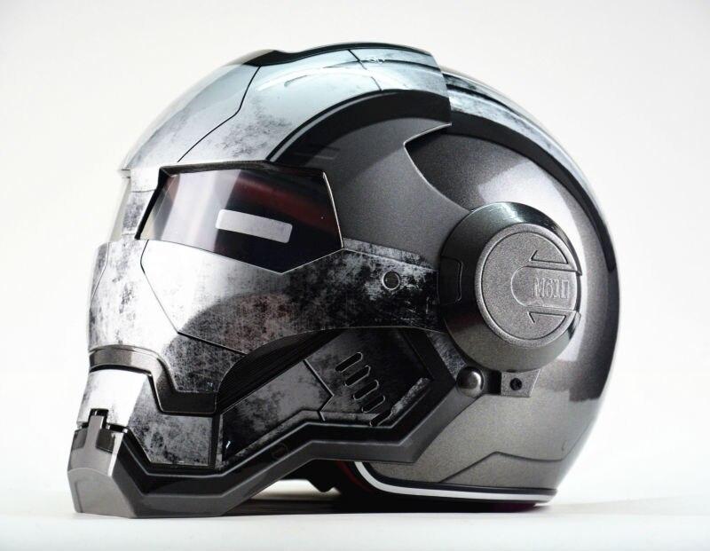 Masei Macchina da Guerra Grigio Mens womens IRONMAN Iron Man casco moto casco mezzo casco aperto del fronte casco ABS casco motocross