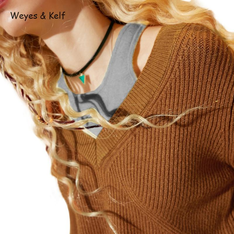 Weyes & Kelf Casual Brown/grey Sweaters Womens Knitwear 2018 Spring Sexy Off Shoulder Pullovers Wome Long Sleeve Tops Female