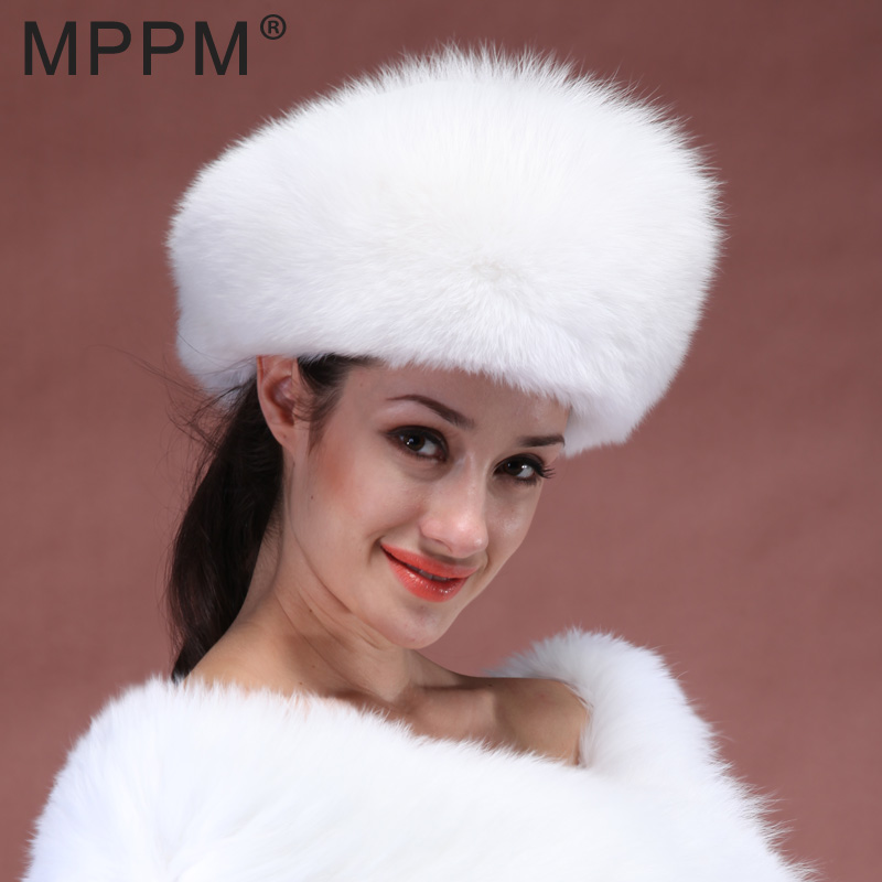 MPPM CALDO Vera Pelliccia di Volpe Cappello Bianco Protezione della Volpe  Intera Pelle made russo donne c99b87ebeb71