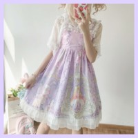 Kawaii Japanese JSK Lolita dress women soft sister cute rabbit and rose loita Sleeveless dress suspender skirt jsk loli skirt cu