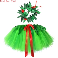 Hawaiian Beach Holiday Skirt With Wreath Green St. Patrick's Day Costume For 2 11Years Old Children Girl And Adult Girl One Size