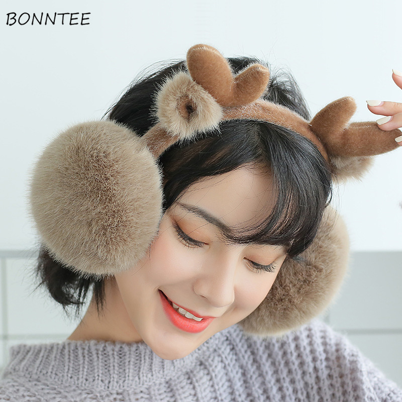 Earmuffs Women Cartoon Deer Furry Harajuku Kawaii Korean Style Folding Warm Womens Earmuff Leisure All-match Simple Animal Chic