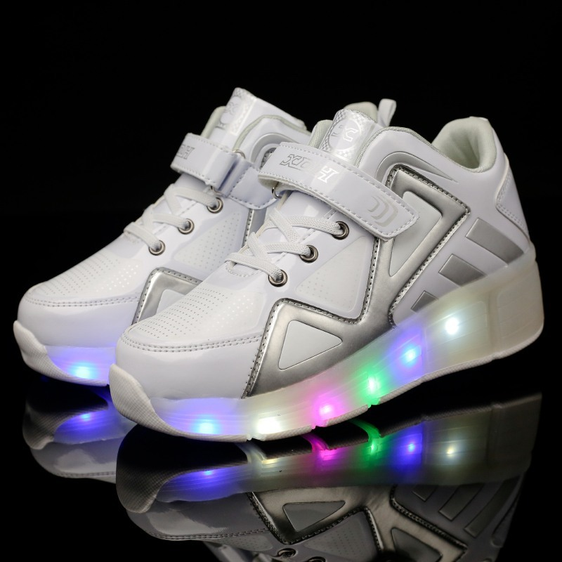 New Shoes with Light Single Wheel Walking Shoes LED Roller Skates 7 Colors  Boys and Girls Students Walking Sneakers 1023B children roller sneaker with one wheel led lighted flashing roller skates kids boy girl shoes zapatillas con ruedas