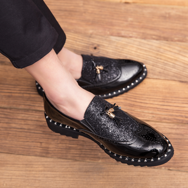Men's Shoes Shoes Men Rivet Dress Italian Shoes Outdoor Slip On Men Mesh Leather Moccasin Glitter Formal Male Shoes Pointed Toe Shoes For Men P4
