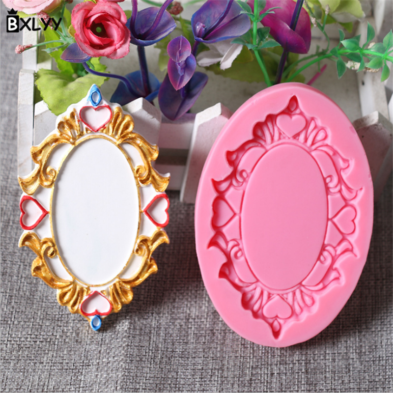 BXLYY Photo Frame Mirror Silicone Mold Chocolate Handmade Soap Mold Cake Decoration Tools Baking Kitchen Wedding Decoration 7z in Baking Pastry Tools from Home Garden