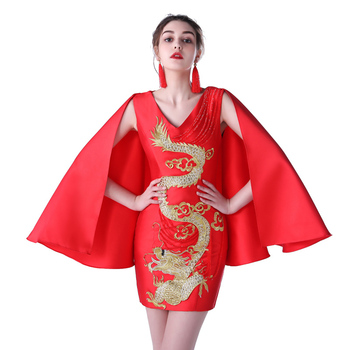 Red Evening Party Dress 2017 New Sexy Short Chinese Style Dresses Summer Cheongsam Qipao Woman Embroidery Robe Chinoise