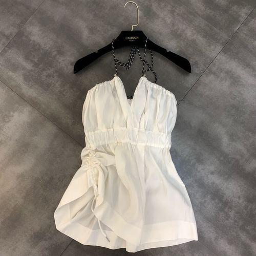 Été 2019 nouveau col en V taille haute cordon Sexy petite femme Camisole réservoirs chemise dame Bohe plage chemises fête Vestidos Top