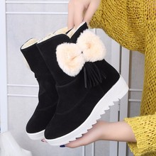 New Thick-soled Women's Ankle Boots Martin Boots 2018 Winter Fashion Warm Wild Flat Snow Boots Bow Tassel Female Platform Boots new fashion bow snow boots women winter thick warm female ankle boots wild middle tube platform cotton shoes botas mujer 2018