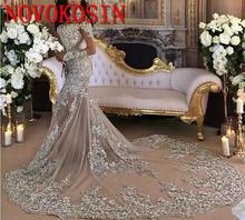 Свадебные платья Русалочки с длинными рукавами 2019 высоким